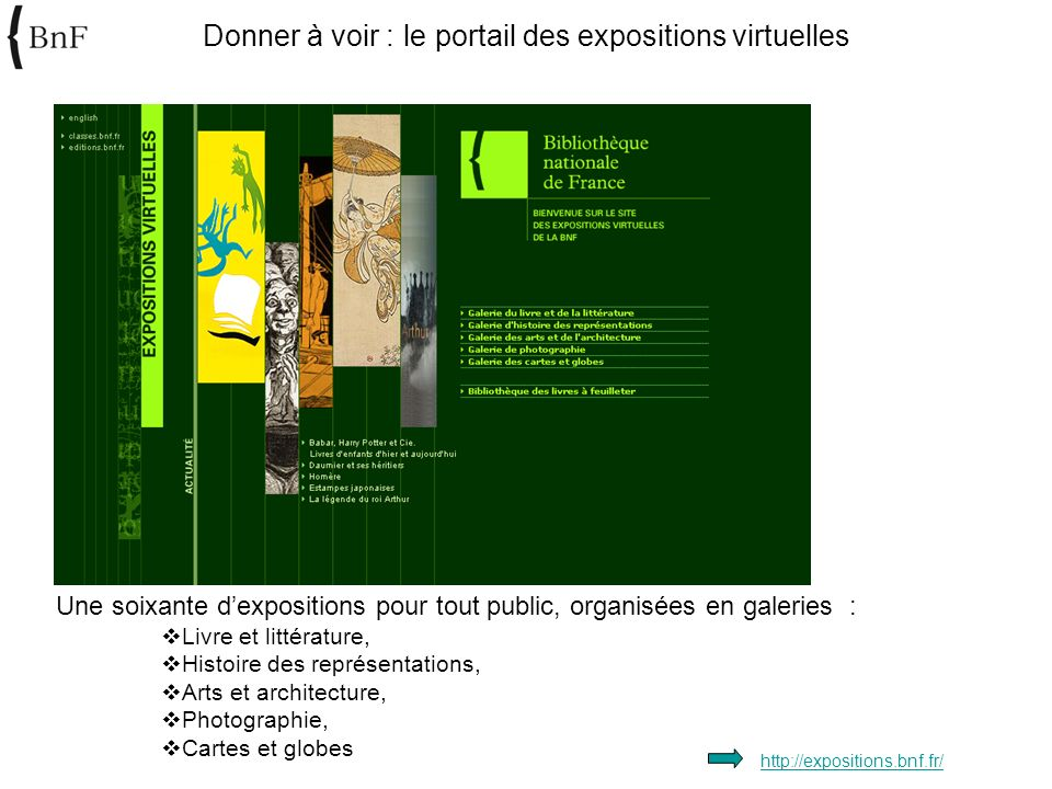 Donner à voir : le portail des expositions virtuelles http://expositions.bnf.fr/ Une soixante dexpositions pour tout public, organisées en galeries :