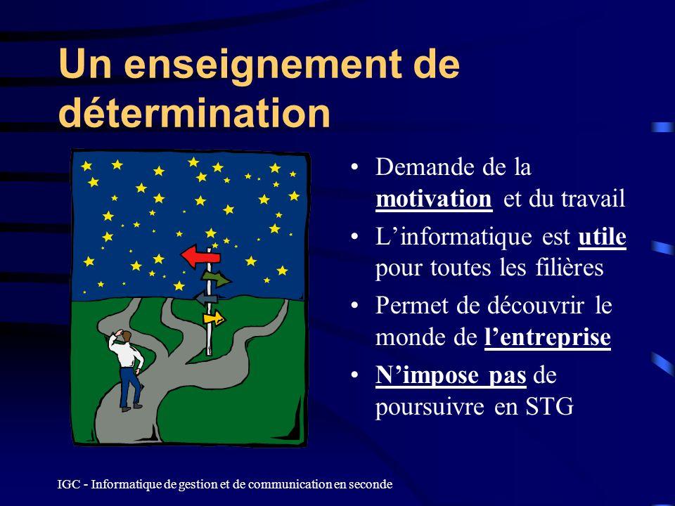 IGC - Informatique de gestion et de communication en seconde Un enseignement de détermination Demande de la motivation et du travail Linformatique est