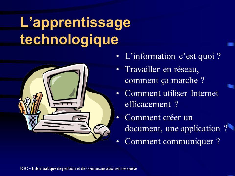 IGC - Informatique de gestion et de communication en seconde Lapprentissage technologique Linformation cest quoi ? Travailler en réseau, comment ça ma