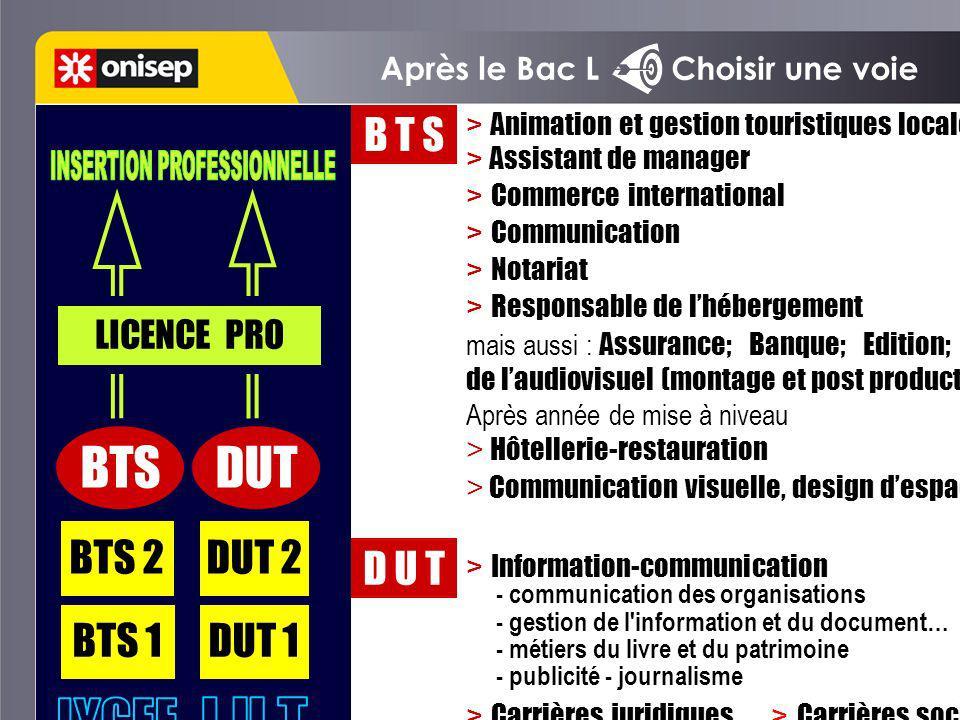 Après le Bac L Choisir une voie BTS 1 BTS 2 DUT 1 DUT 2 BTSDUT LICENCE PRO D U T B T S > Animation et gestion touristiques locales > Assistant de mana