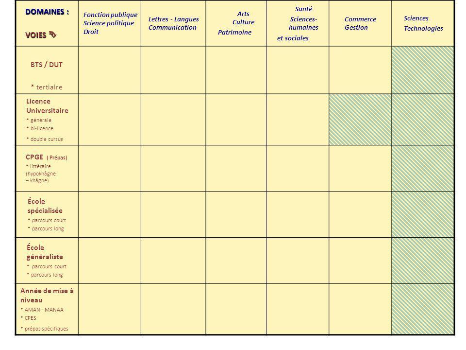 DOMAINES : VOIES VOIES Fonction publique Science politique Droit Lettres - Langues Communication Arts Culture Patrimoine Santé Sciences- humaines et s