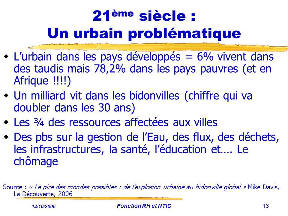 14/10/2006 Fonction RH et NTIC13 21 ème siècle : Un urbain problématique Lurbain dans les pays développés = 6% vivent dans des taudis mais 78,2% dans