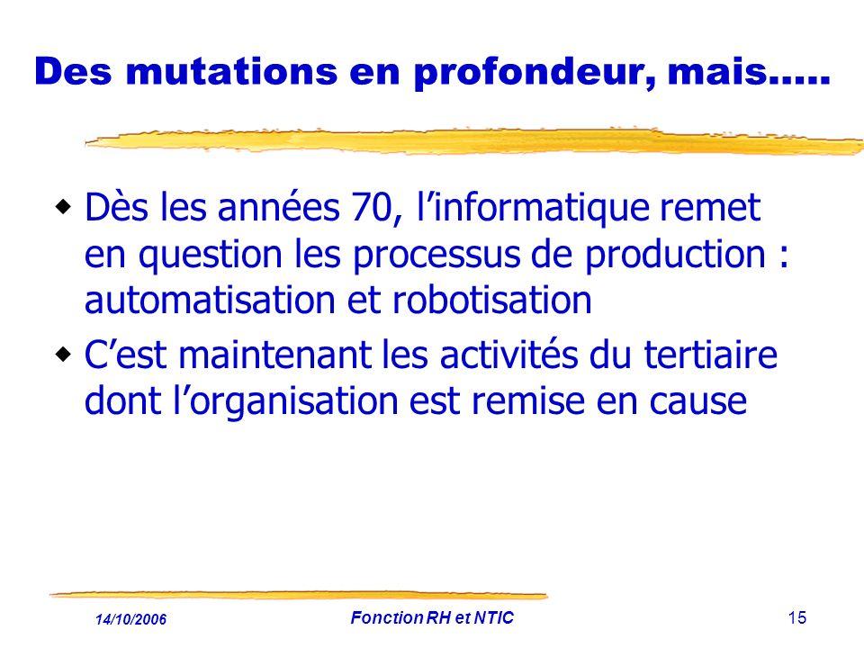 14/10/2006 Fonction RH et NTIC15 Des mutations en profondeur, mais….. Dès les années 70, linformatique remet en question les processus de production :