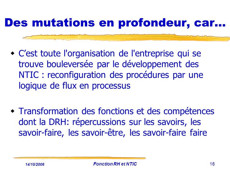 14/10/2006 Fonction RH et NTIC16 Des mutations en profondeur, car… Cest toute l'organisation de l'entreprise qui se trouve bouleversée par le développ