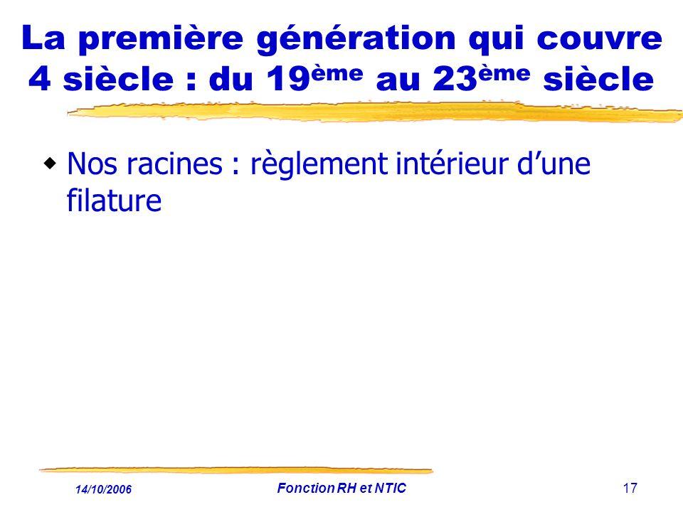 14/10/2006 Fonction RH et NTIC17 La première génération qui couvre 4 siècle : du 19 ème au 23 ème siècle Nos racines : règlement intérieur dune filatu