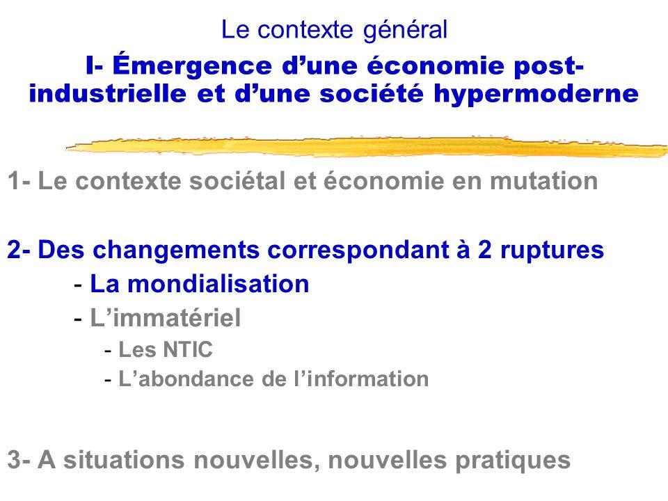 1- Le contexte sociétal et économie en mutation 2- Des changements correspondant à 2 ruptures - La mondialisation - Limmatériel - Les NTIC - Labondanc