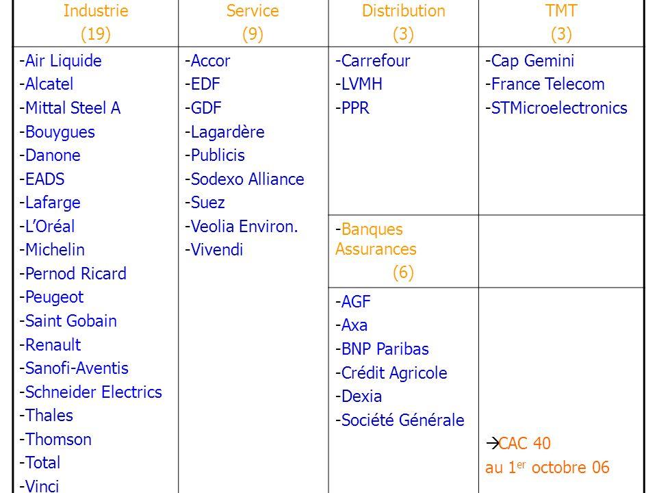 Industrie (19) Service (9) Distribution (3) TMT (3) -Air Liquide -Alcatel -Mittal Steel A -Bouygues -Danone -EADS -Lafarge -LOréal -Michelin -Pernod R