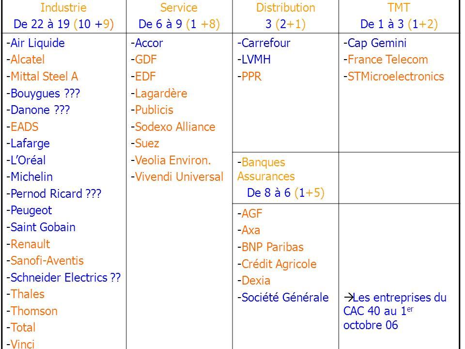 Industrie De 22 à 19 (10 +9) Service De 6 à 9 (1 +8) Distribution 3 (2+1) TMT De 1 à 3 (1+2) -Air Liquide -Alcatel -Mittal Steel A -Bouygues ??.