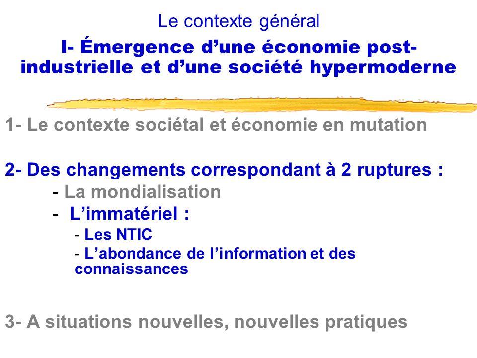 1- Le contexte sociétal et économie en mutation 2- Des changements correspondant à 2 ruptures : - La mondialisation - Limmatériel : - Les NTIC - Labon