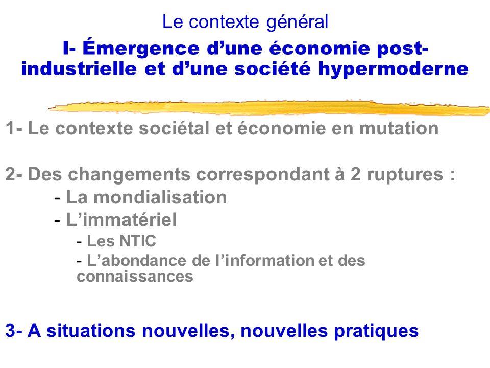 1- Le contexte sociétal et économie en mutation 2- Des changements correspondant à 2 ruptures : - La mondialisation - Limmatériel - Les NTIC - Labonda