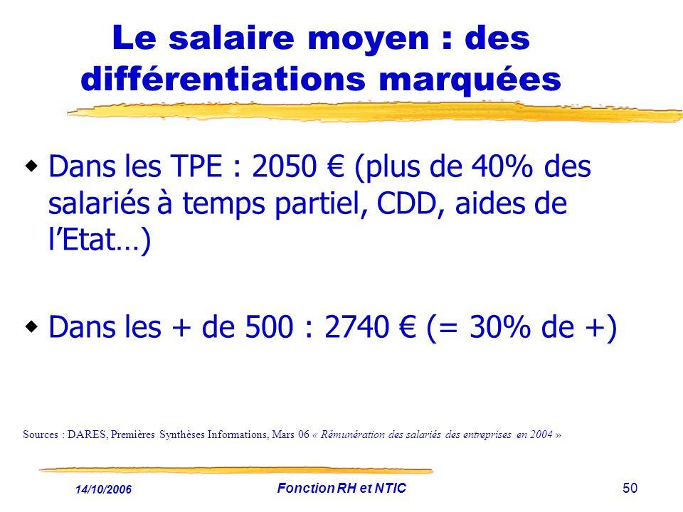 14/10/2006 Fonction RH et NTIC50 Le salaire moyen : des différentiations marquées Dans les TPE : 2050 (plus de 40% des salariés à temps partiel, CDD, aides de lEtat…) Dans les + de 500 : 2740 (= 30% de +) Sources : DARES, Premières Synthèses Informations, Mars 06 « Rémunération des salariés des entreprises en 2004 »