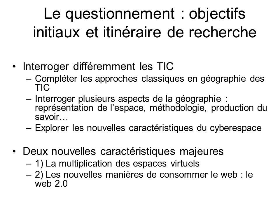 Le questionnement : objectifs initiaux et itinéraire de recherche Interroger différemment les TIC –Compléter les approches classiques en géographie de