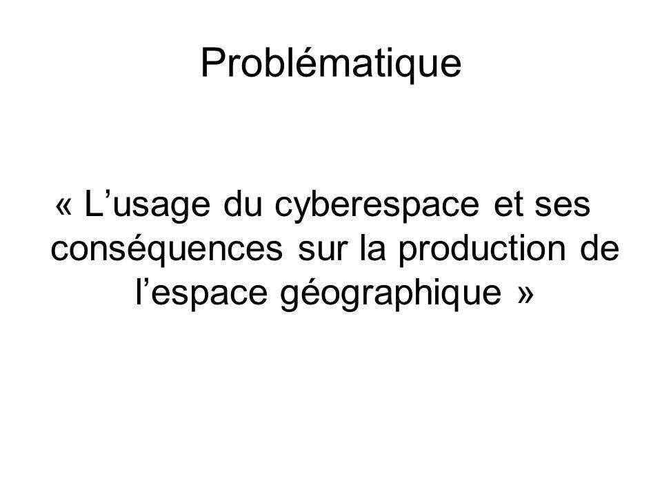 Problématique « Lusage du cyberespace et ses conséquences sur la production de lespace géographique »