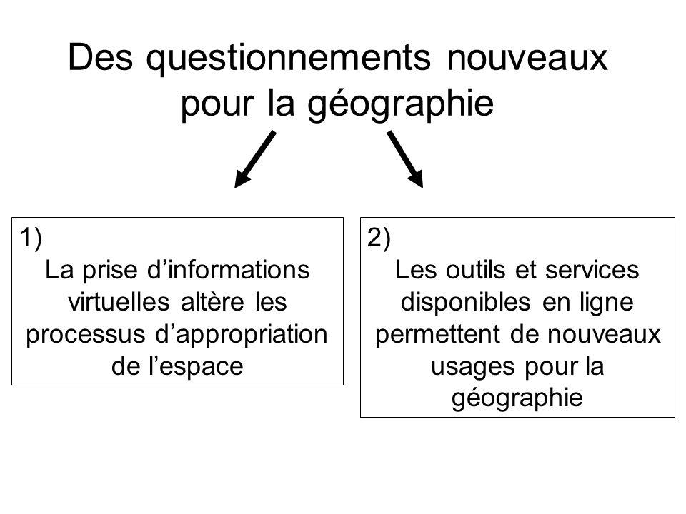 Des questionnements nouveaux pour la géographie 1) La prise dinformations virtuelles altère les processus dappropriation de lespace 2) Les outils et s