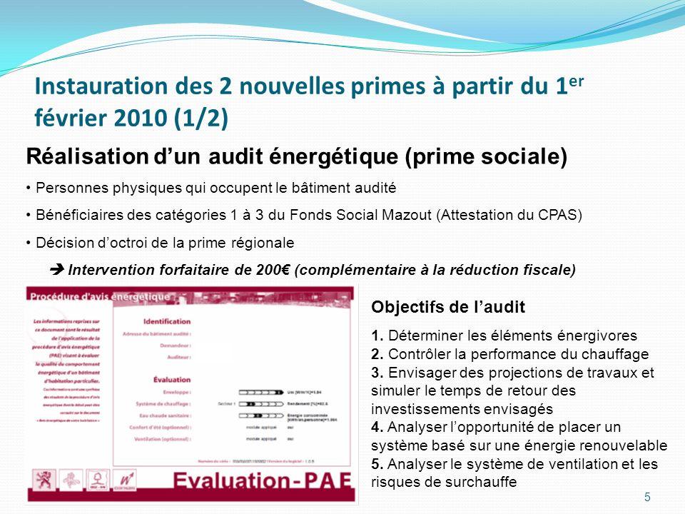 Instauration des 2 nouvelles primes à partir du 1 er février 2010 (1/2) 5 Réalisation dun audit énergétique (prime sociale) Personnes physiques qui occupent le bâtiment audité Bénéficiaires des catégories 1 à 3 du Fonds Social Mazout (Attestation du CPAS) Décision doctroi de la prime régionale Intervention forfaitaire de 200 (complémentaire à la réduction fiscale) Objectifs de laudit 1.