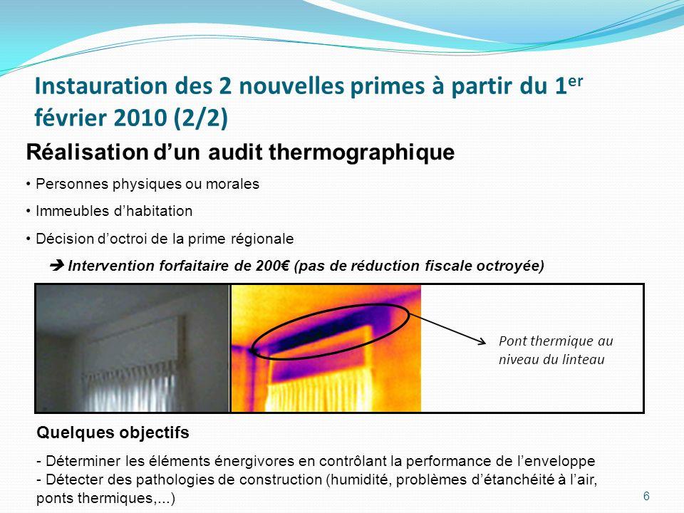 6 Réalisation dun audit thermographique Personnes physiques ou morales Immeubles dhabitation Décision doctroi de la prime régionale Intervention forfa