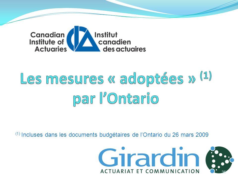 35 (1) Incluses dans les documents budgétaires de lOntario du 26 mars 20092009