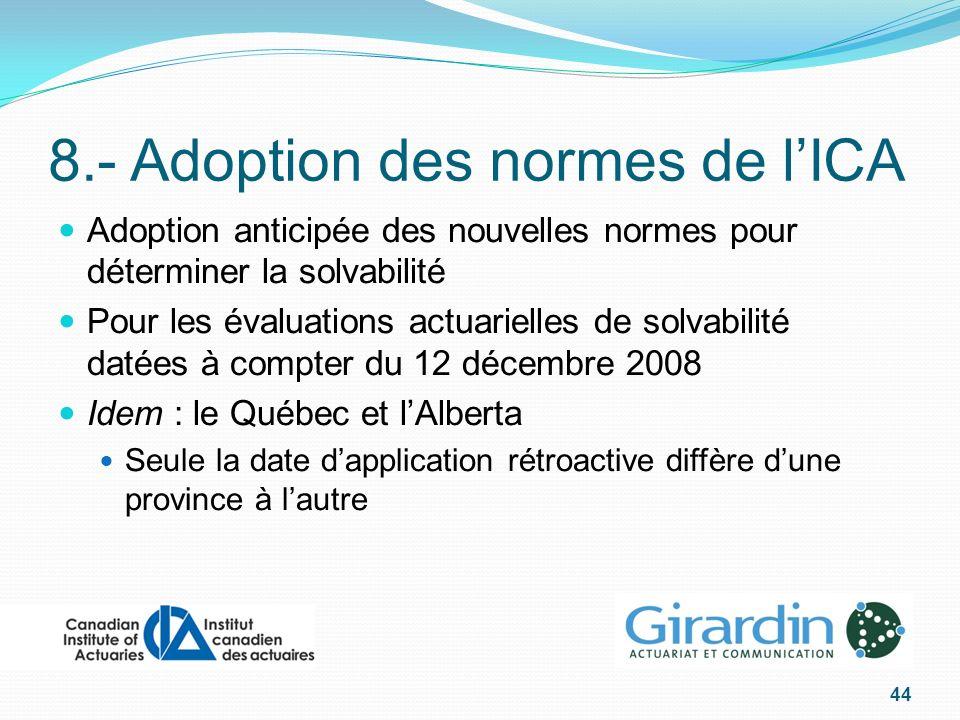 8.- Adoption des normes de lICA Adoption anticipée des nouvelles normes pour déterminer la solvabilité Pour les évaluations actuarielles de solvabilité datées à compter du 12 décembre 2008 Idem : le Québec et lAlberta Seule la date dapplication rétroactive diffère dune province à lautre 44