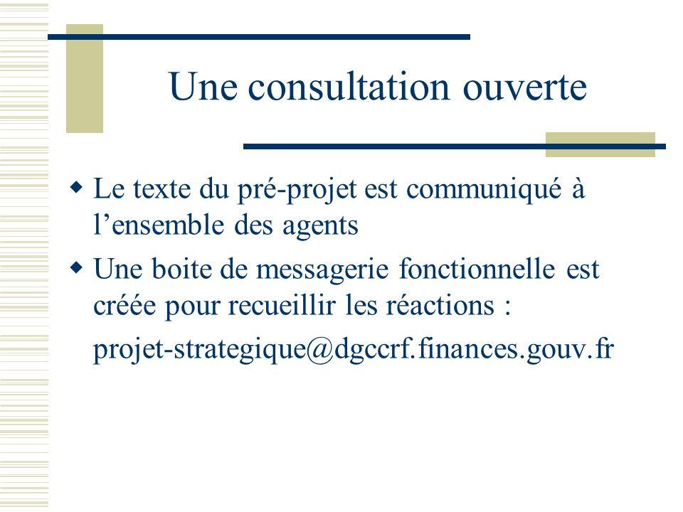 Une consultation ouverte Le texte du pré-projet est communiqué à lensemble des agents Une boite de messagerie fonctionnelle est créée pour recueillir les réactions : projet-strategique@dgccrf.finances.gouv.fr