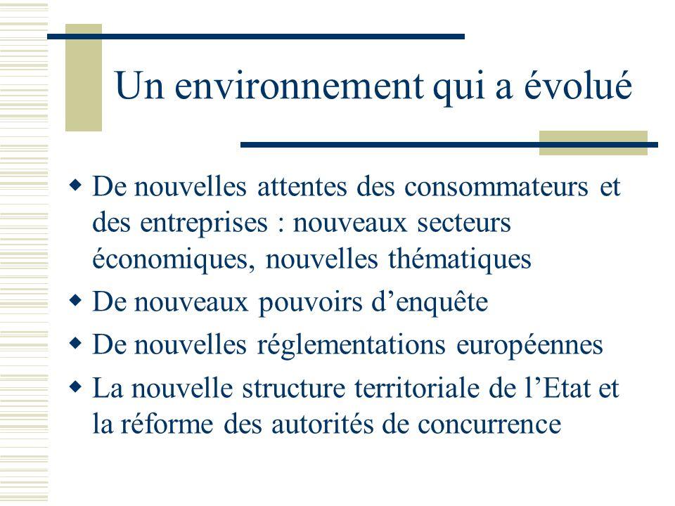 Un environnement qui a évolué De nouvelles attentes des consommateurs et des entreprises : nouveaux secteurs économiques, nouvelles thématiques De nouveaux pouvoirs denquête De nouvelles réglementations européennes La nouvelle structure territoriale de lEtat et la réforme des autorités de concurrence