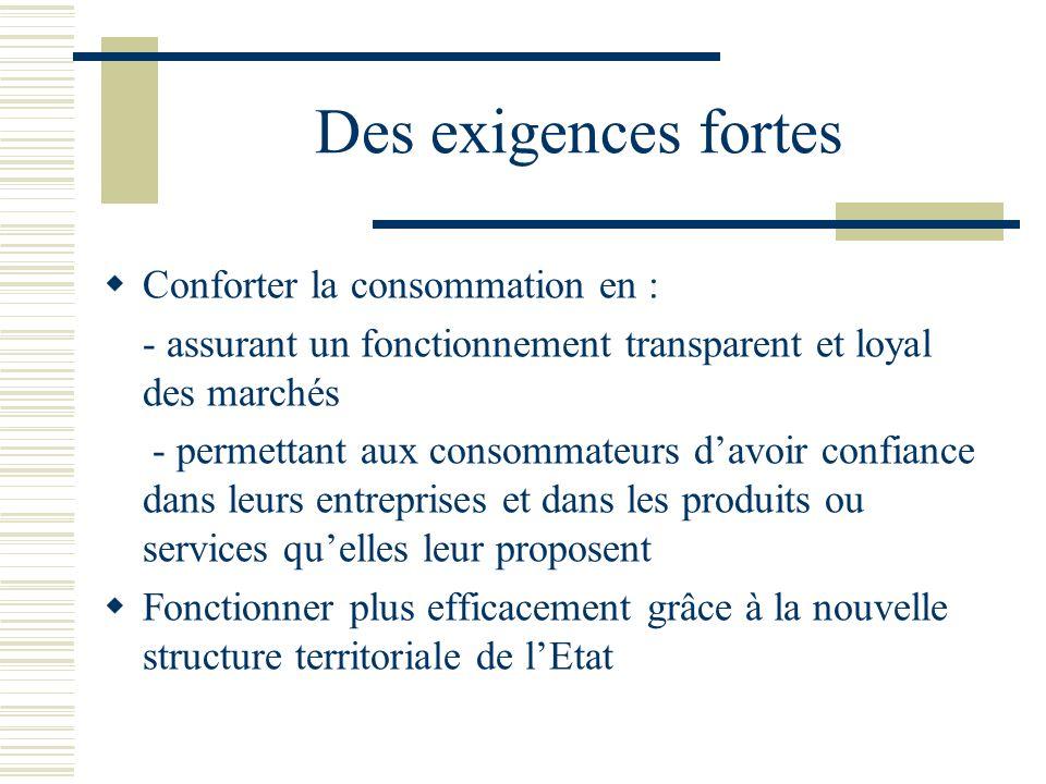 Des exigences fortes Conforter la consommation en : - assurant un fonctionnement transparent et loyal des marchés - permettant aux consommateurs davoir confiance dans leurs entreprises et dans les produits ou services quelles leur proposent Fonctionner plus efficacement grâce à la nouvelle structure territoriale de lEtat