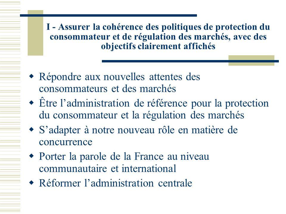 I - Assurer la cohérence des politiques de protection du consommateur et de régulation des marchés, avec des objectifs clairement affichés Répondre aux nouvelles attentes des consommateurs et des marchés Être ladministration de référence pour la protection du consommateur et la régulation des marchés Sadapter à notre nouveau rôle en matière de concurrence Porter la parole de la France au niveau communautaire et international Réformer ladministration centrale