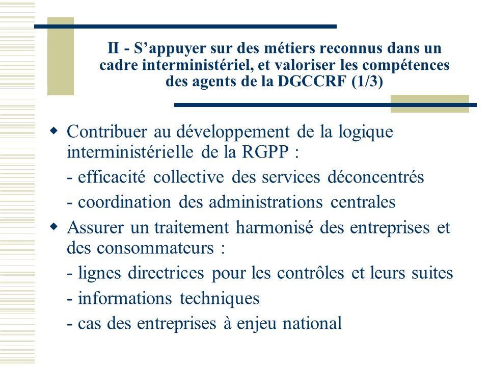 II - Sappuyer sur des métiers reconnus dans un cadre interministériel, et valoriser les compétences des agents de la DGCCRF (2/3) Garantir la cohérence territoriale des politiques de concurrence et de consommation : Valoriser ces missions via le pilotage par les DIRECCTE, les réseaux et la formation