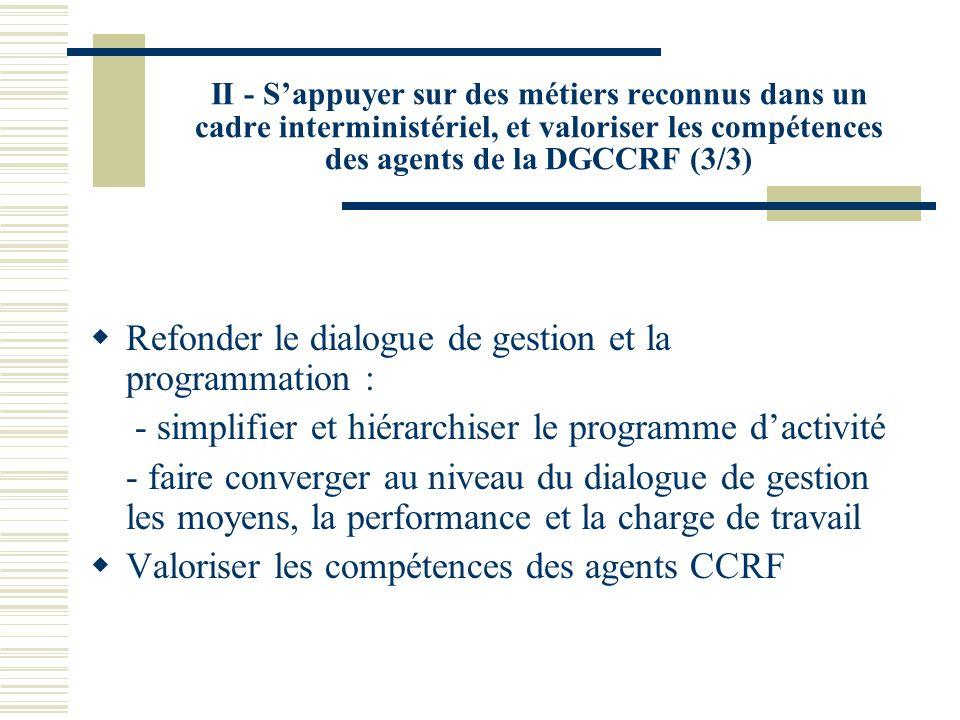 II - Sappuyer sur des métiers reconnus dans un cadre interministériel, et valoriser les compétences des agents de la DGCCRF (3/3) Refonder le dialogue de gestion et la programmation : - simplifier et hiérarchiser le programme dactivité - faire converger au niveau du dialogue de gestion les moyens, la performance et la charge de travail Valoriser les compétences des agents CCRF