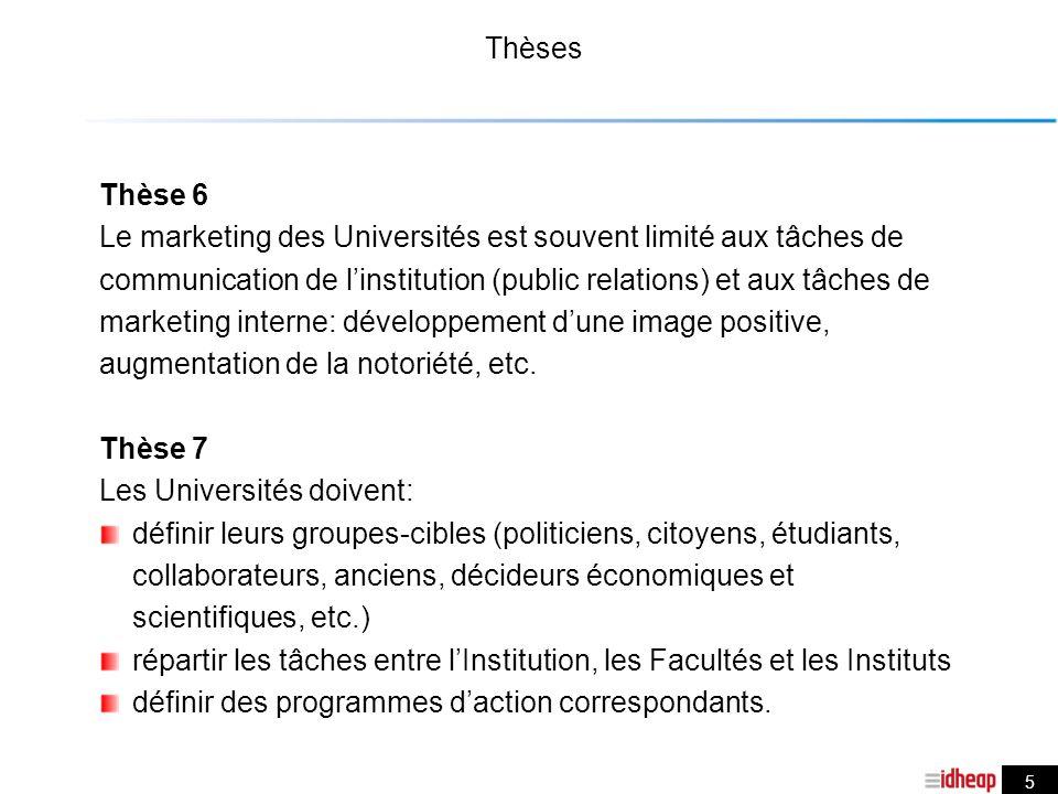 5 Thèses Thèse 6 Le marketing des Universités est souvent limité aux tâches de communication de linstitution (public relations) et aux tâches de marketing interne: développement dune image positive, augmentation de la notoriété, etc.