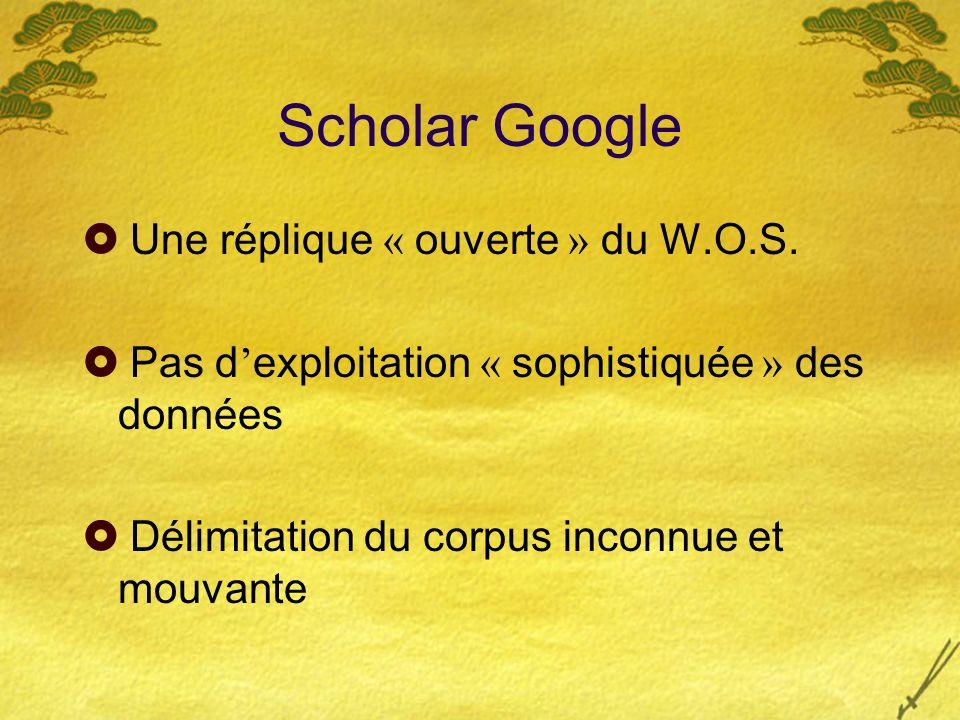Scholar Google Une réplique « ouverte » du W.O.S.