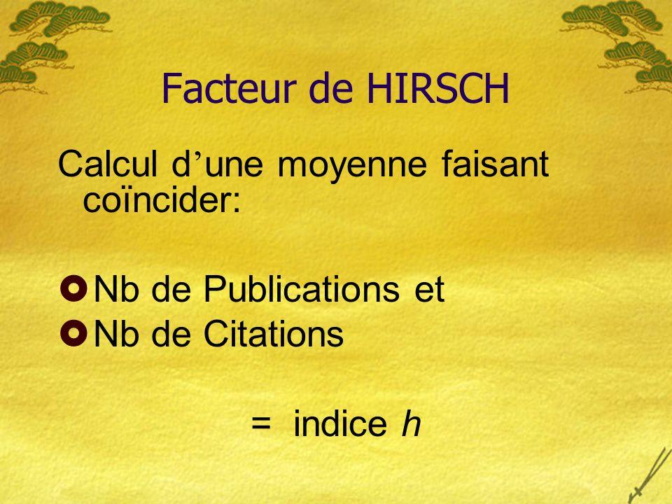 Facteur de HIRSCH Calcul d une moyenne faisant coïncider: Nb de Publications et Nb de Citations = indice h