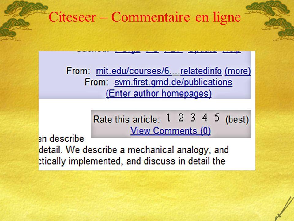 Citeseer – Commentaire en ligne