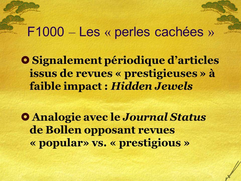 F1000 – Les « perles cachées » Signalement périodique darticles issus de revues « prestigieuses » à faible impact : Hidden Jewels Analogie avec le Journal Status de Bollen opposant revues « popular» vs.
