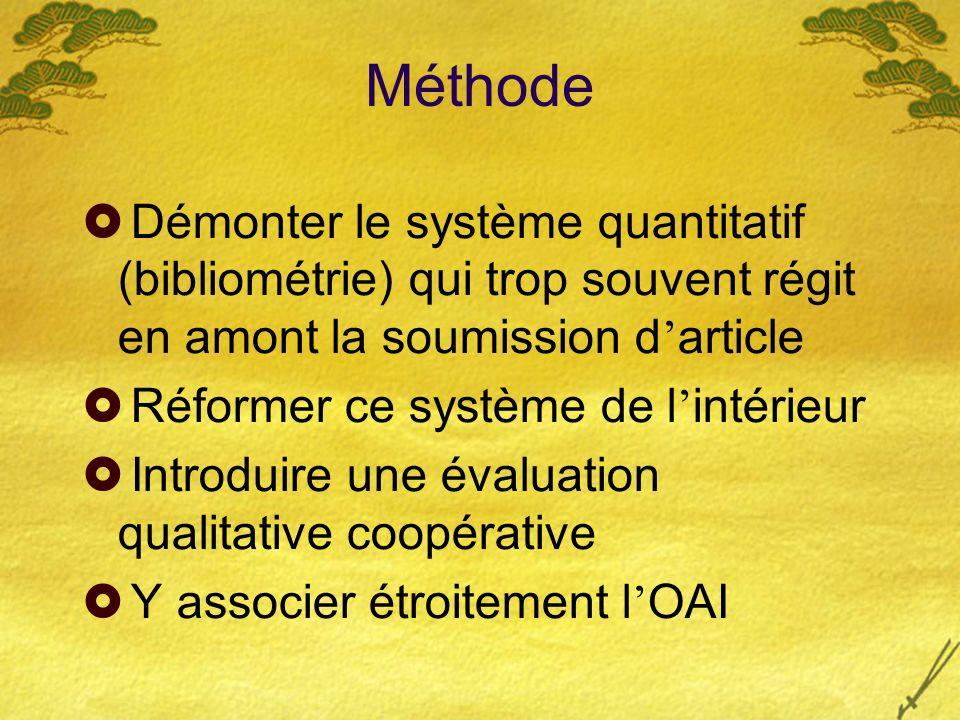 Méthode Démonter le système quantitatif (bibliométrie) qui trop souvent régit en amont la soumission d article Réformer ce système de l intérieur Introduire une évaluation qualitative coopérative Y associer étroitement l OAI