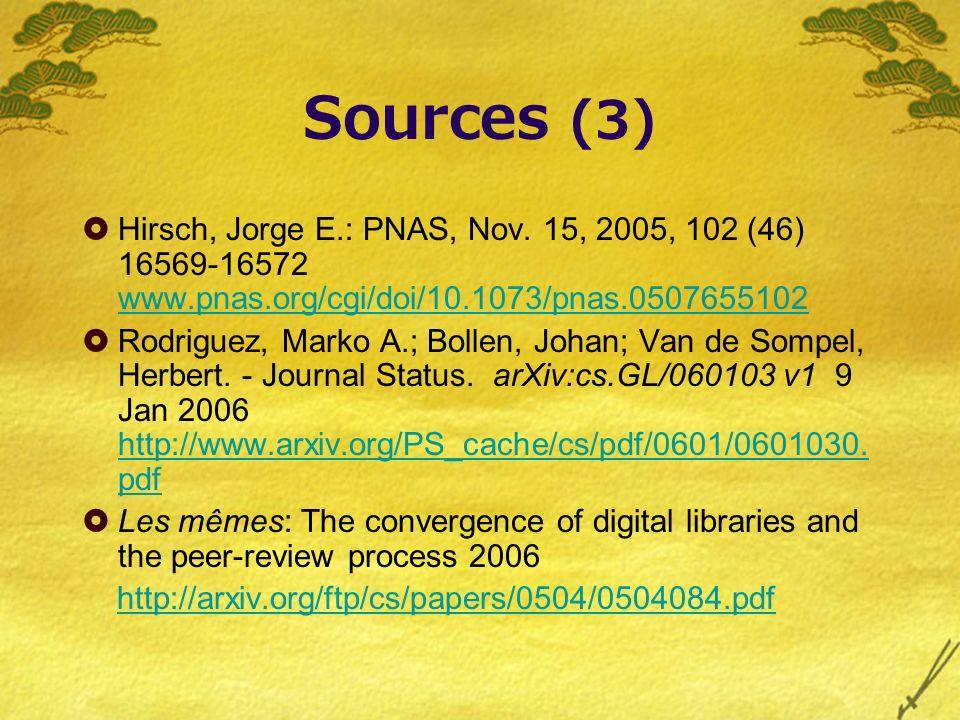 Sources (3) Hirsch, Jorge E.: PNAS, Nov.
