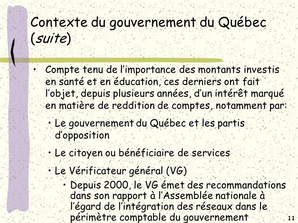 10 Contexte du gouvernement du Québec (suite)