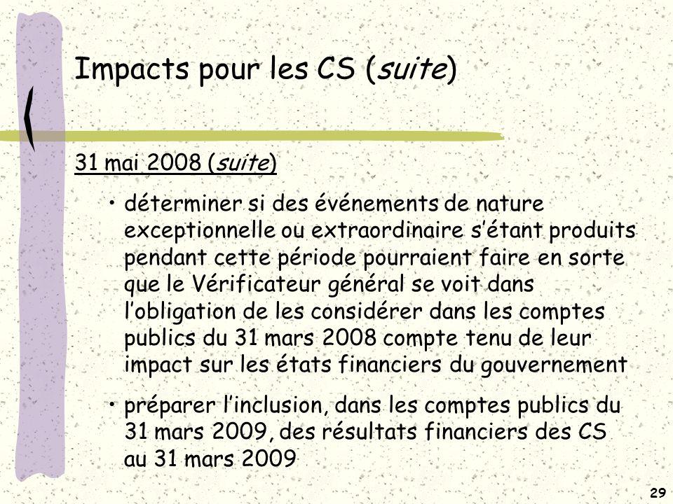 28 Impacts pour les CS (suite) 31 mai 2008 Des données additionnelles (voir annexe A) sur les états financiers de la période allant du 1 er juillet 2007 au 31 mars 2008 (Pont) sont requises dans le but de : pouvoir présenter une information équivalant à lannexe 18 des comptes publics du 31 mars 2007