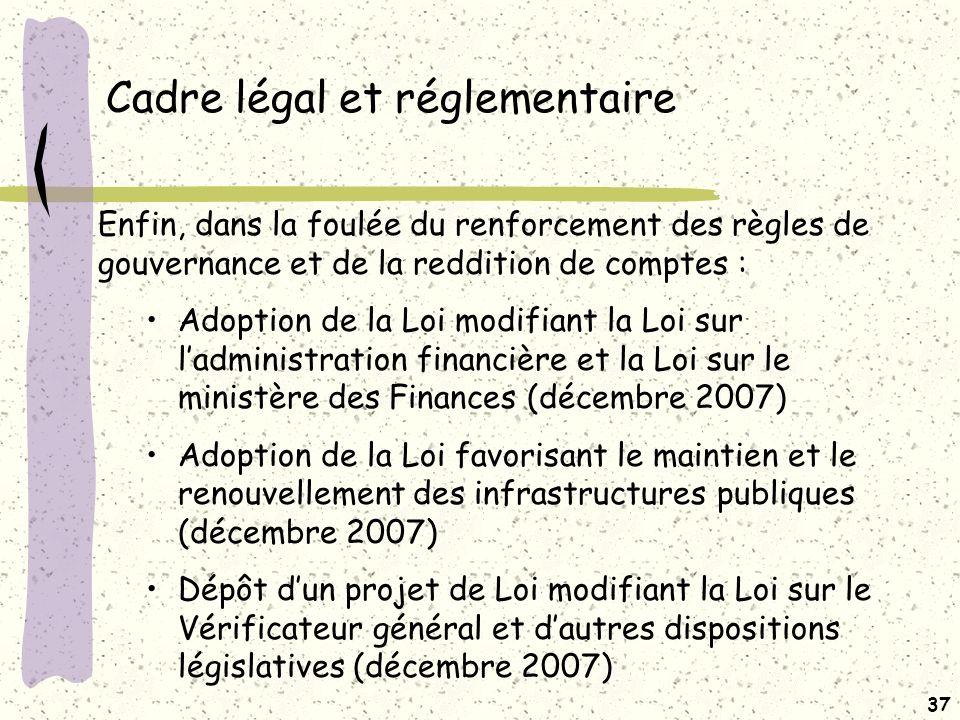 36 Impacts pour les CS (suite) AMENDEMENTS DES LOIS Des modifications aux lois des entités concernées (Finances, Santé, Éducation) pourraient devoir être effectuées