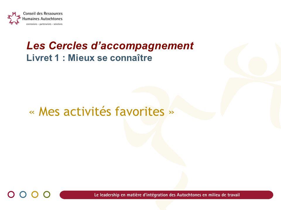 « Mes activités favorites » Les Cercles daccompagnement Livret 1 : Mieux se connaître