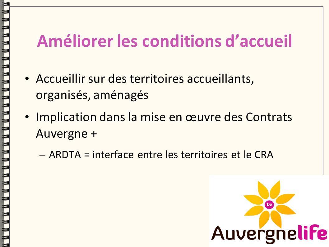 Améliorer les conditions daccueil Accueillir sur des territoires accueillants, organisés, aménagés Implication dans la mise en œuvre des Contrats Auvergne + – ARDTA = interface entre les territoires et le CRA