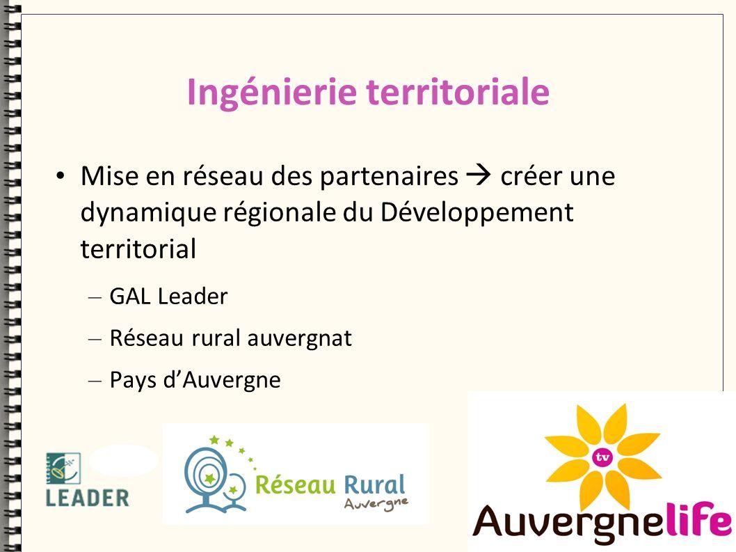Ingénierie territoriale Mise en réseau des partenaires créer une dynamique régionale du Développement territorial – GAL Leader – Réseau rural auvergnat – Pays dAuvergne