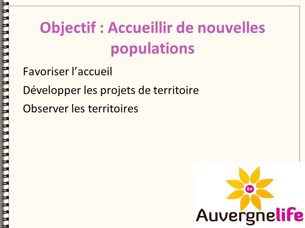 Objectif : Accueillir de nouvelles populations Favoriser laccueil Développer les projets de territoire Observer les territoires