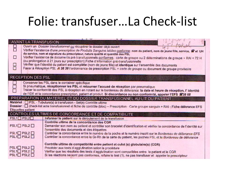 Folie: transfuser…La Check-list