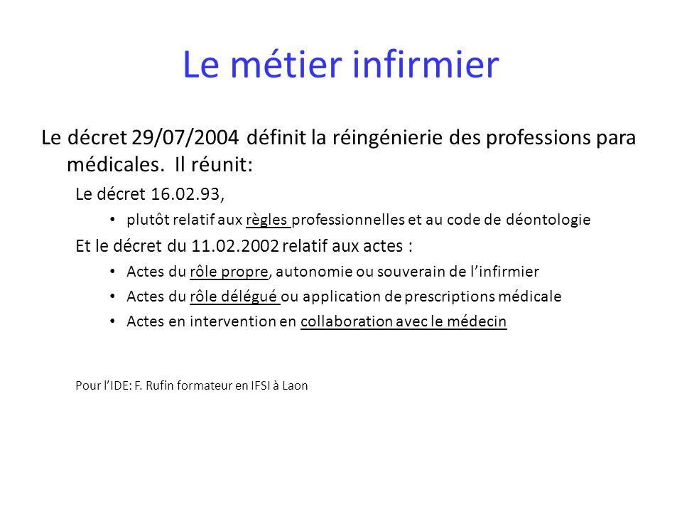 Le métier infirmier Le décret 29/07/2004 définit la réingénierie des professions para médicales.