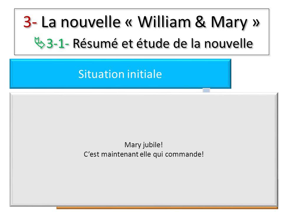 3- La nouvelle « William & Mary » 3-1- Résumé et étude de la nouvelle Situation initiale Péripéties Résolutions Situation finale Mary jubile! Cest mai