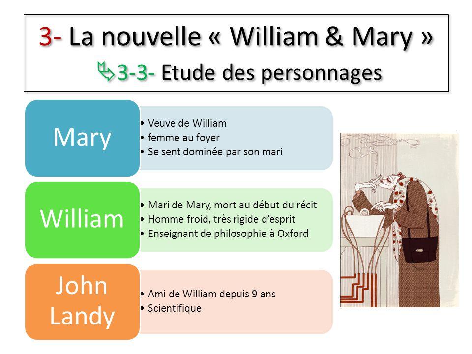 Veuve de William femme au foyer Se sent dominée par son mari Mary Mari de Mary, mort au début du récit Homme froid, très rigide desprit Enseignant de