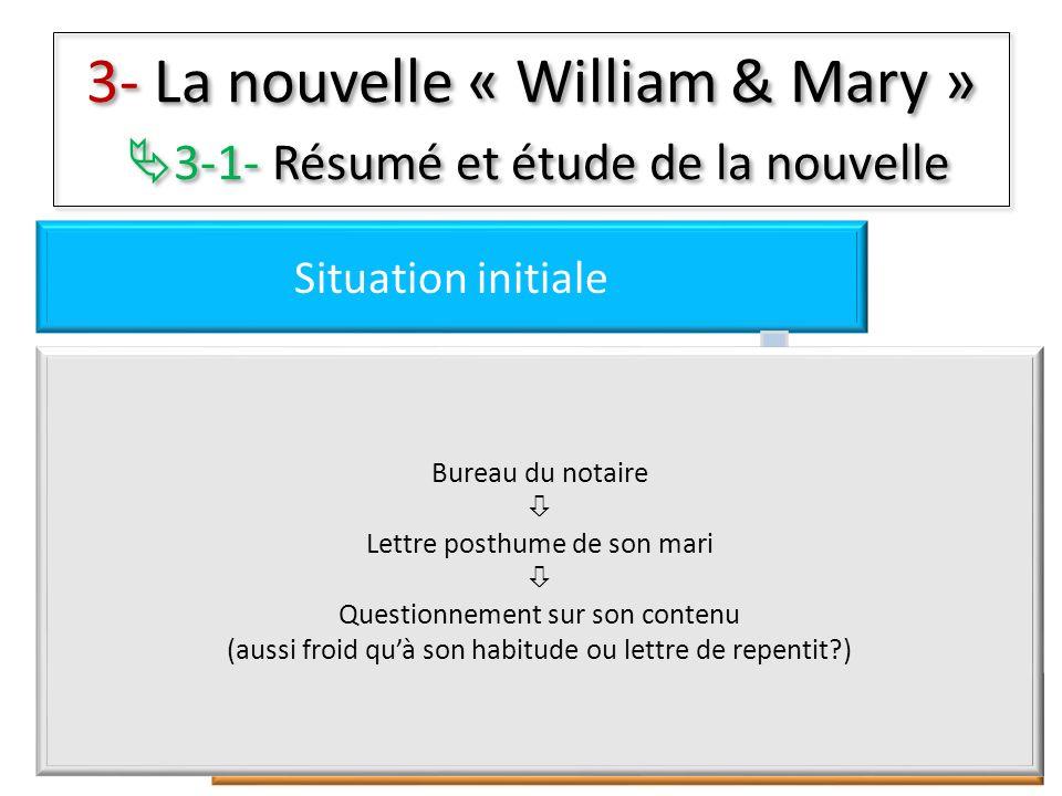 3- La nouvelle « William & Mary » 3-1- Résumé et étude de la nouvelle Situation initiale Péripéties Résolutions Situation finale Bureau du notaire Let