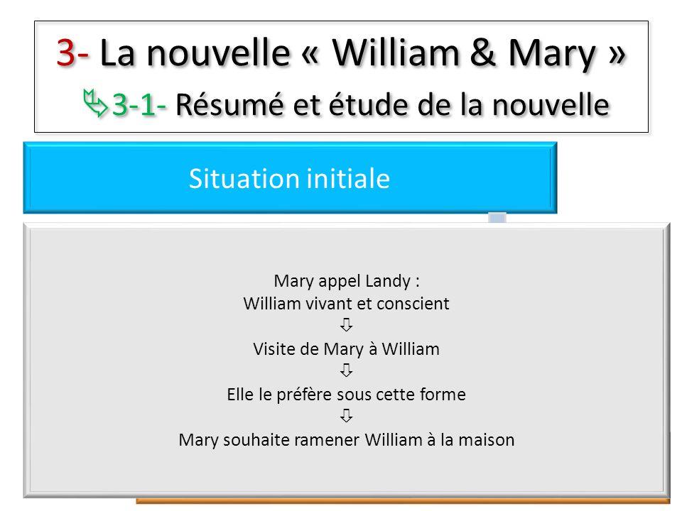 3- La nouvelle « William & Mary » 3-1- Résumé et étude de la nouvelle Situation initiale Péripéties Résolutions Situation finale Mary appel Landy : Wi