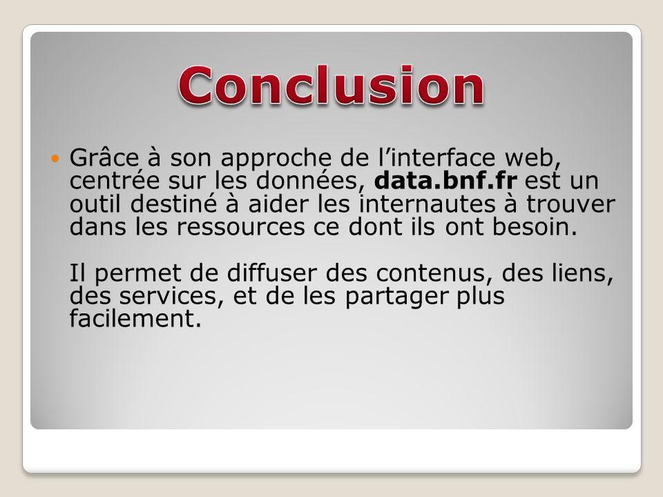 Grâce à son approche de linterface web, centrée sur les données, data.bnf.fr est un outil destiné à aider les internautes à trouver dans les ressources ce dont ils ont besoin.