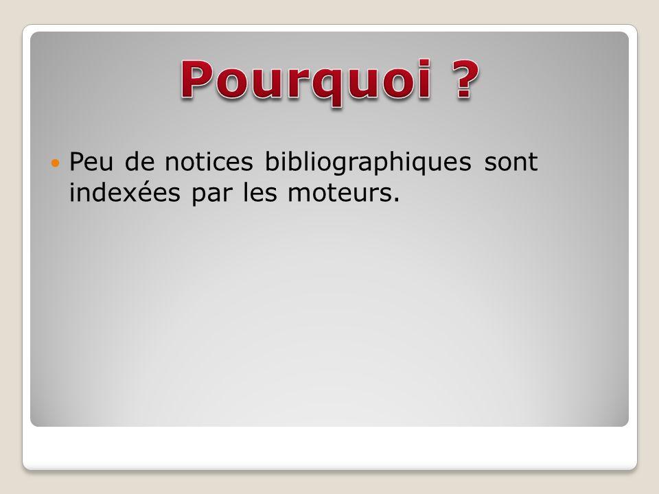 Peu de notices bibliographiques sont indexées par les moteurs.